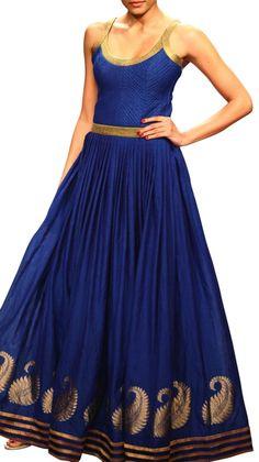 Gold and Blue Long Dress | Strandofsilk.com - Indian Designers
