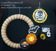 Using the Halloween Banner Simply Created accessory kit. www.creatinwithkirsteen.com Halloween Banner, Fall Halloween, 3d Projects, July 4th, 3 D, Stampin Up, Finding Yourself, Card Making, Diy Crafts