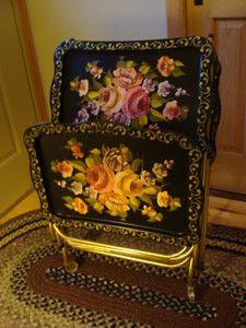 Antique Toleware Flower TV Trays!