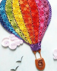 Quilling Art with Hot Air Balloon. The picture is made with paper strips. Di… Quilling Art with hot air … Quilling Images, Paper Quilling Patterns, Quilled Paper Art, Quilling Paper Craft, Paper Crafting, Quilling Ideas, Paper Quilling Tutorial, Arte Quilling, Origami And Quilling