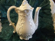 Vintage Tea Pot Porcelain Lacy White by VintageFairRetroRare, $22.00
