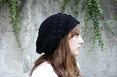 Slouch Hat, Slouchy Beanies, Crocheted Slouch Hats, Slouch Hats, Slouchy Beanie Crochet, Black, Gray, Fern Green