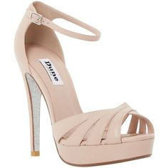 Dune Miko Peep Toe Leather Sandals, Blush (€125) ❤ liked on Polyvore featuring shoes, sandals, heels, high heels stilettos, flat sandals, heeled sandals, ankle strap sandals and heels stilettos