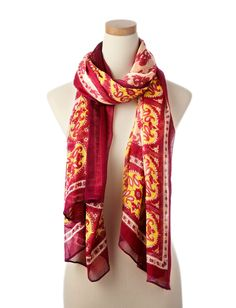 Pink Multi Sari Floral Wearable Art Scarf