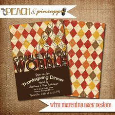THANKSGIVING DINNER Invitation Printable by ThePeachandPineapple