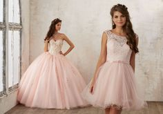 Embroidery and Beading on a Tulle Quinceañera Ball Gown   Valencia Style 60014   Quinceanera Dresses by Morilee designed by Madeline Gardner. Gorgeous Floral Embroidey Takes Center Stage on This Tulle Quinceañera Dress with Corset Back.