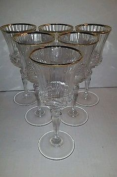 SET OF ( 12) CRYSTAL GLASSES W/ GOLD TRIM WINE, WATER, JUICE
