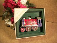 Hallmark Tin Locomotive Christmas Tree Ornament Red Railroad Train Vintage 1984…