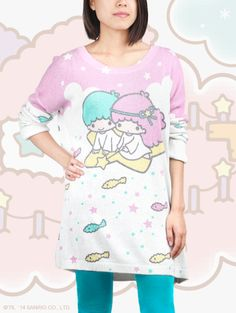 LittleTwinStars oversized sweater by JapanLA. A charming addition to the wardrobe!