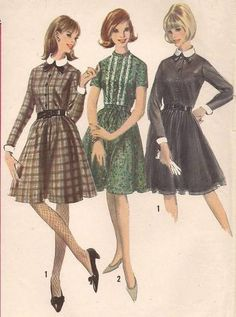 Vintage 60s Sewing Pattern Simplicity Dress Detachable Collar  Cuffs 6082 B30/9