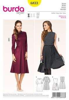 Retro-style dresses with emphasized waists are in vogue again. Nice form-fitting bodice and full flared, swingy skirt. A with collar of fancy fabric. Overskirt B with an exciting mix of wool and tulle : Sewing Pattern