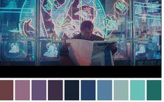 Blade Runner Ridley Scott) / Cinematography by Jordan Cronenweth Blade Runner, Color In Film, Noir Color, Movie Color Palette, Colour Pallette, Famous Movie Scenes, Famous Movies, Cinema Colours, Color Palette Generator