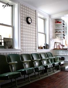 I love this. I love this so hard.  the grey polka dots are so perfect, esp with the clock and the green seats.