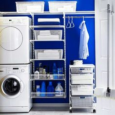 Home Ideas , Tips to Design Laundry Room Cabinet and 35 Inspiring Laundry Room : Blue Laundry Room Idea