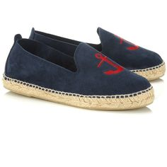 Manebi Patriot Blue Antigua Espadrilles ($55) ❤ liked on Polyvore featuring shoes, sandals, blue, round cap, embroidered shoes, blue espadrilles, blue sandals and blue shoes