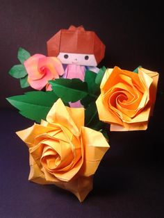 Origami  roses  designed  by  Naomiki  Sato  folded  by  Majomajo