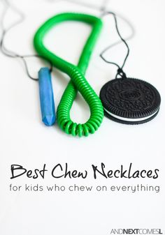 The toughest, most durable chew necklaces for kids who chew on everything from And Next Comes L Oral Motor Activities, Sensory Activities, Activities For Kids, Sensory Toys For Kids, Sensory Tools, Autism Parenting, Parenting Hacks, Sensory Therapy, Learning