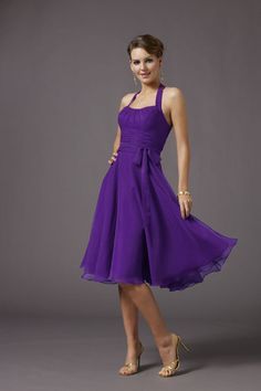 Shop best 2011 Ball Gown Halter Knee length Sleeveless Chiffon Bridal Bridesmaid Dress with Belt R0 for modest bridesmaid, high quality & affordable price.