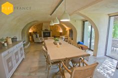 Dining room with vaulted ceiling in vacation rental home in #France. See more of the fabulous #interiordesign on the Pure France website: www.purefrance.com