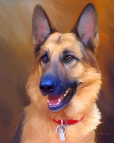 Pawsinality Painted Pets: Gunnar - luv to find this artist to convey my blues n ella in such great paint German Shepherd Painting, German Shepherd Dogs, German Shepherds, Pet Dogs, Dog Cat, Gsd Dog, Dog Artwork, Schaefer, Cute Animal Drawings