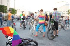 Rainbow ride by vera kisel, via Flickr Bratislava, Cycling, Bicycle, Rainbow, Rain Bow, Biking, Bike, Rainbows, Bicycle Kick