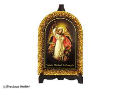 Saint Michael Archangel Holy art catholic art religious gift Baltic amber holy icon prints on wood decorated with Baltic amber by PreciousAmber on Etsy