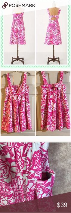 Anthro End of Summer Sale End of summer sale! hot pink and white embossed dress with pockets! length 37' Vanessa Virginia dress. Anthropologie Dresses