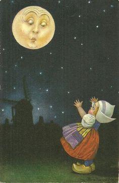 1930s E. Colombo postcard love the moon face