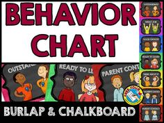 CHALKBOARD AND BURLAP CLASSROOM DECOR: BEHAVIOR MANAGEMENT CHART IN CHALKBOARD AND COLORED BURLAP THEME  Monitor each child's behavior in your class by using this fun burlap and chalkboard behavior clip chart. A great behavior management tool to encourage kids to stay on their best behavior!