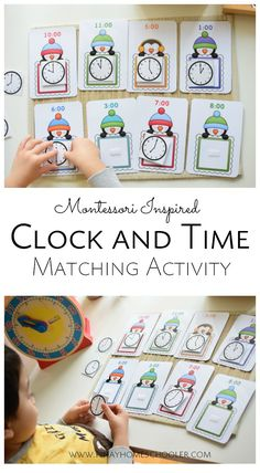 Penguin clock and time matching game for preschoolers and kindergarterners