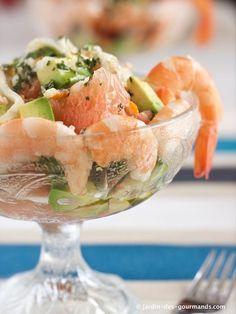 salade-avocat-crevettes-et-pamplemousse-jdg5 Gourmet Recipes, Cooking Recipes, Shrimp Avocado, Best Appetizers, Restaurant Recipes, Finger Foods, Entrees, Tapas, Seafood