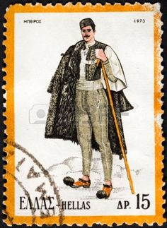 Picture of GREECE - CIRCA 1973 A stamp printed in Greece from the Traditional Greek Costumes part issue shows a man from Epirus, circa 1973 stock photo, images and stock photography. Ancient Greek Costumes, Greek Traditional Dress, Greece Pictures, Stamp Printing, Folk Dance, Greek Clothing, Character Costumes, Folk Costume, Stamp Collecting
