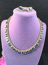 STUNNING SCHOFFEL AUSTRIA GOLD-TONE SAPPHIRE AB RHINESTONE NECKLACE EARRINGS SET