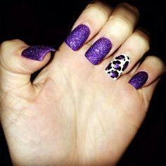 Purple theme lepard nails