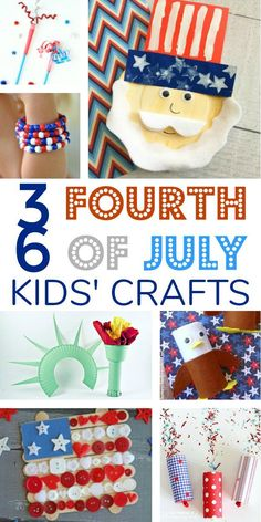 Patriotic Fourth (4th) of July Crafts to do with Kids and Toddlers - flag, eagle, statue of liberty, fireworks, wands, slime, and more!