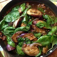 Adobong Kangkong and Talong : Spinach-Eggplant  Vinegar Saute
