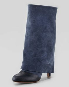 Fold-Over Suede Mid-Calf Boot, Navy by See by Chloe at Neiman Marcus. $410.00