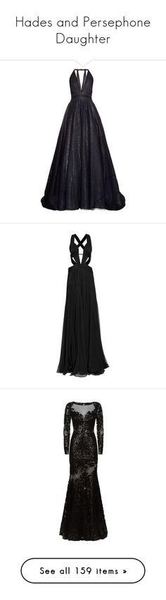 """Hades and Persephone Daughter"" by liihmahone ❤ liked on Polyvore featuring dresses, gowns, long dresses, vestidos, navy, navy blue ball gown, blue evening gown, blue dress, plunging neckline dress and navy blue evening dress"