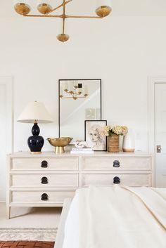 My Parents' Guest Bedroom Makeover - bedroom inspirations Bedroom Dressers, Bedroom Furniture, Furniture Makeover, Bedroom Dresser Styling, Dresser Top Decor, Console Styling, White Furniture, Home Bedroom, Bedroom Decor