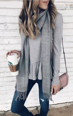 #winter #outfits gray scarf. Click To Shop This Look.