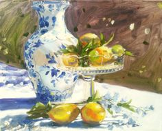 SUMMER LEMONS oil on canvas painting of lemons by CECILIAROSSLEE