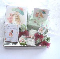 Beatrix Potter dollhouse baby gift with Benjamin Bunny theme (by rainbowminiatures on Etsy)