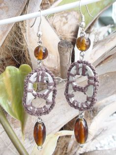 Upcycled Pop Tab Soda Tab Dangle Earrings Brown with Brown Glass Beads. $7.00, via Etsy.
