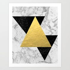 Marble Tri Black & Gold - gold foil, gold, marble, black and white, trendy, luxe, gold phone Art Print by CharlotteWinter | Society6