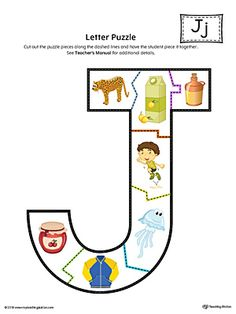 Letter J Puzzle Printable (Color) Worksheet.The Letter J Puzzle in Color is perfect for helping students practice recognizing the shape of the letter J, and it's beginning sound, along with developing fine-motor skills. Letter J Activities For Preschoolers, Preschool Arts And Crafts, Preschool Literacy, Alphabet Activities, Kindergarten Curriculum, Free Printable Alphabet Worksheets, Phonics Worksheets, Tracing Worksheets, Teaching Letters