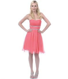 2013 Homecoming Dresses - Coral Ruched Empire Waist Strapless Dress #uniquevintage