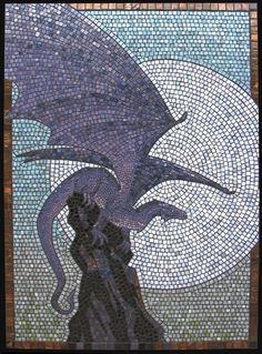 mosaic, dragon, vitreous glass tesserae w/ black grout on cement board - direct w/ mortar