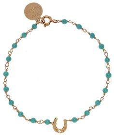 """Viv & Ingrid Turquoise & Gold Horseshoe Beaded Charm Bracelet: 7"""" beaded bracelet with Horseshoe charm."""