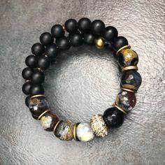 ONYX 'n' AGATE MEN'S Wrap Bracelet, Memory Wire Bracelet, Gemstone Bracelet