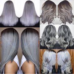 Silver and Gray Metallic Hair Color #hotonbeauty HOT Beauty Magazine facebook.com/hotbeautymagazine Granny hair